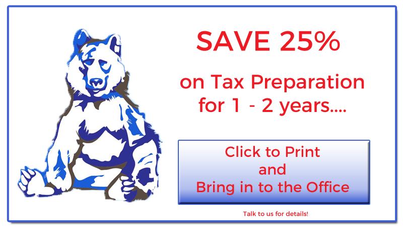 Blue Bear Tax Coupon:Save 25% on Tax Preparation for 1 - 2 years