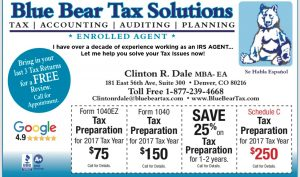 Save Money on Your Tax Prep- Blue Bear Tax Solutions-Denver